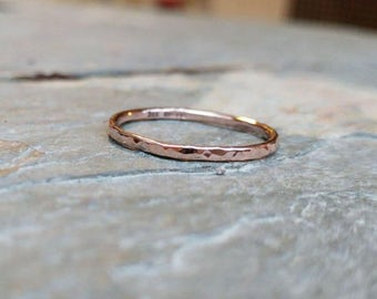 9ct Rose Gold Hammered Ring - Stacking, Simple, Delicate, Textured, Wedding Band