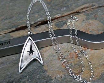 Star Trek Star Fleet Insignia Sterling Silver Pendant Necklace - Geek, Sci Fi, Trekkie
