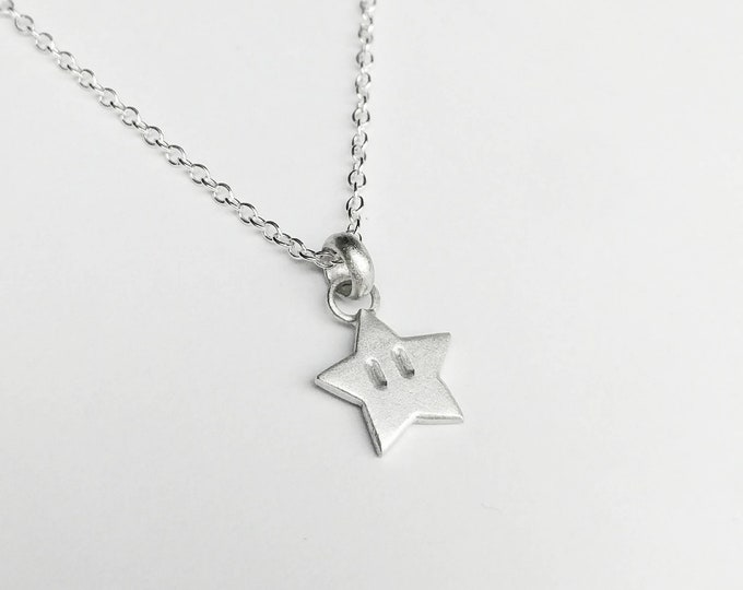 Featured listing image: Sterling Silver Super Mario Inspired Star Pendant Necklace - Geek, Gamer, Invincible, Nintendo
