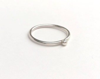 Sterling Silver Pebble Nugget Stacking Ring