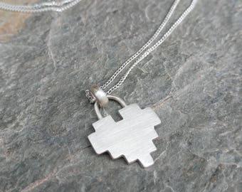 Sterling Silver 8 Bit Heart Pendant Padlock Necklace - Geek, Gamer, Zelda, Pixelated, Minecraft