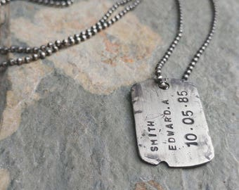 Sterling Silver Personalised Dog Tag Pendant Necklace