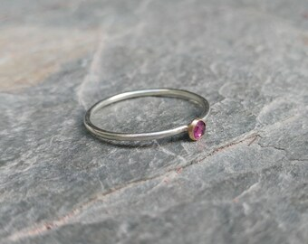 Delicate Contrasting 9ct White Gold And 18ct Yellow Gold Faceted Gemstone Stacking Ring