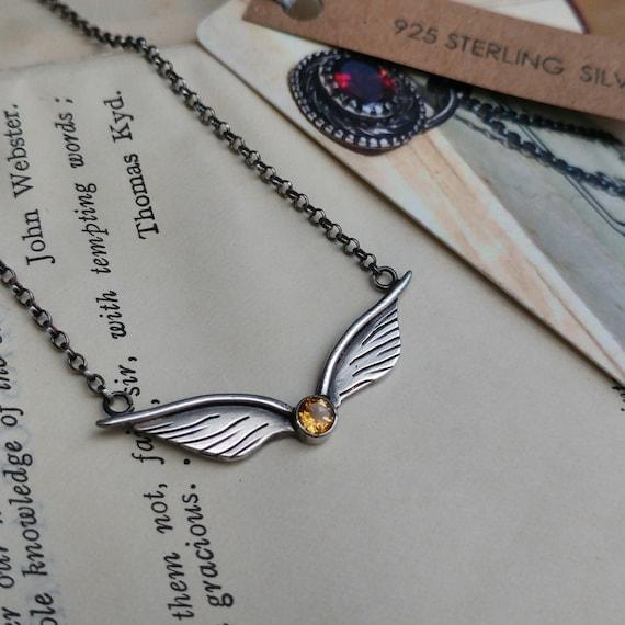 Sterling Silber Und Citrin Goldene Schnatz Inspiriert Flügel Halskette Geek Fantasy