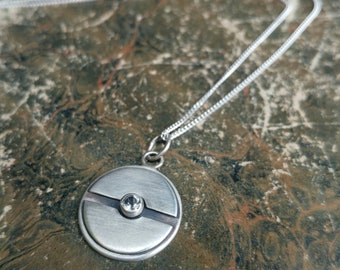 Pokeball Inspired Sterling Silver And Topaz Pendant Necklace - Geek, Gamer, Pokemon,