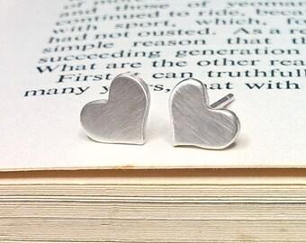 Love Heart Sterling Silver Stud Earrings