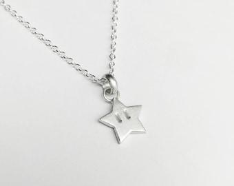 Sterling Silver Super Mario Inspired Star Pendant Necklace - Geek, Gamer, Invincible, Nintendo