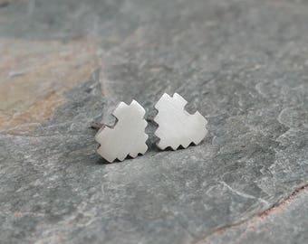 Sterling Silver 8 Bit Heart Stud Earrings - Geek, Gamer, Zelda, Pixelated