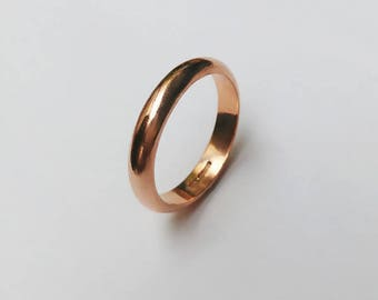 9ct Rose Gold D Court Profile Ring - Wedding Band, Simple, Chunky, Gents