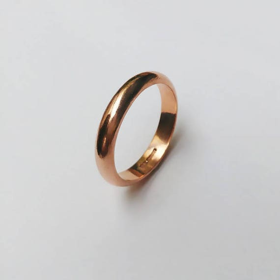 9ct red court band. Ladies rose gold polished finish 3mm wide Wedding ring