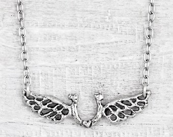 Horseshoes Forever Necklace- Cowgirl Jewelry - Horseshoe Wing Necklace - Equestrian Inspirational Necklace - N721