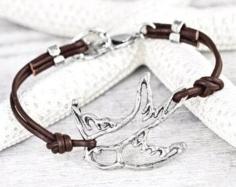 Peace Dove Bracelet - Dove Bracelet - Leather Bracelet- Inspirational Bracelet - Boho Style - B496