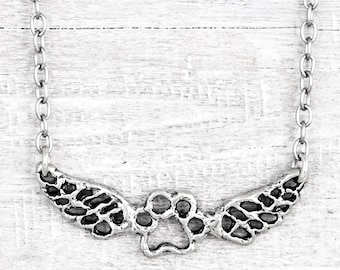 Paws Forever Necklace - Puppy Paw Necklace - Dog Memorial - Wing Necklace - Dog Necklace -  N722
