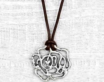 Wild Rose Necklace - Rose Jewelry - Flower Necklace - Nature Jewelry - Leather Necklace - N729