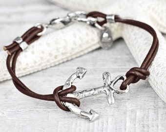 Swept Away Bracelet - Anchor Jewelry - Leather Bracelet - Beach Ocean Jewelry - B485