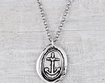 Hope Anchors Necklace- Wax Seal Jewelry- Inspirational Necklace - N710