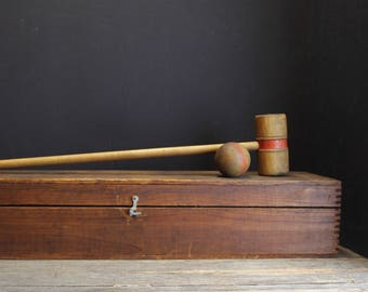 Antique Table Top Croquet Set in Antique Wood Box // Parlor Croquet Set // Mallets // Balls // Wickets  // Stakes and Stands