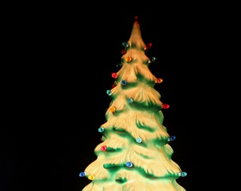 Vintage Union Products Blow Mold Lighted Christmas Tree // 22 Inches // Plastic // Multicolored Lights