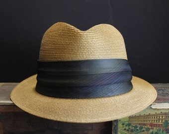 1950s Beautiful Woven Straw Fedora with Silk Band and Short Brim    Mad Men  Sinatra Style Woven Hat    Summer Hat    Men s Size 7 f6d0dbac02f3