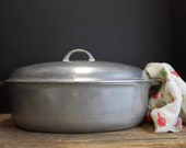 Vintage Large Griswold 7 Oval Roaster A 487 Roasting Pan With Lid and Roaster Trivet Retro Kitchen