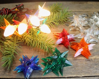 13 rare vintage lucite star light reflectors c 7 red blue green clear orange reflectors retro christmas