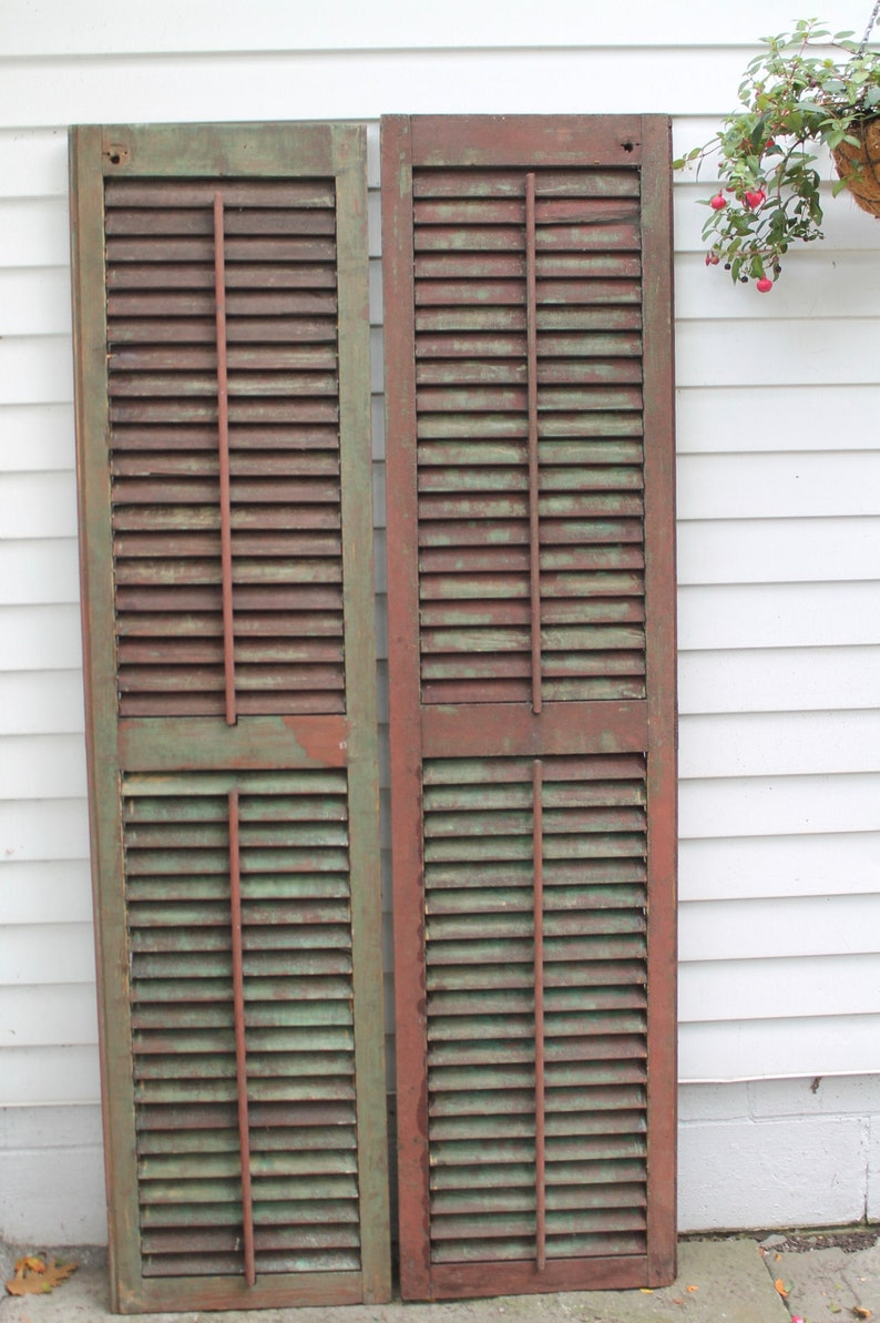 2 Tall Barn Red Antique Wood Shutters Architectural Salvage - Come discover rustic fall decorating ideas in this photo gallery with ideas and resources!