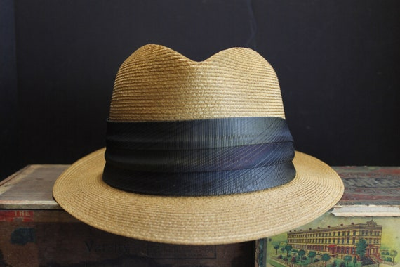 1950s Beautiful Woven Straw Fedora with Silk Band and Short  ebe9e79aacb
