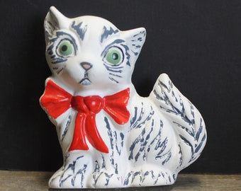 Vintage Chalk Ware Kitten With Red Bow