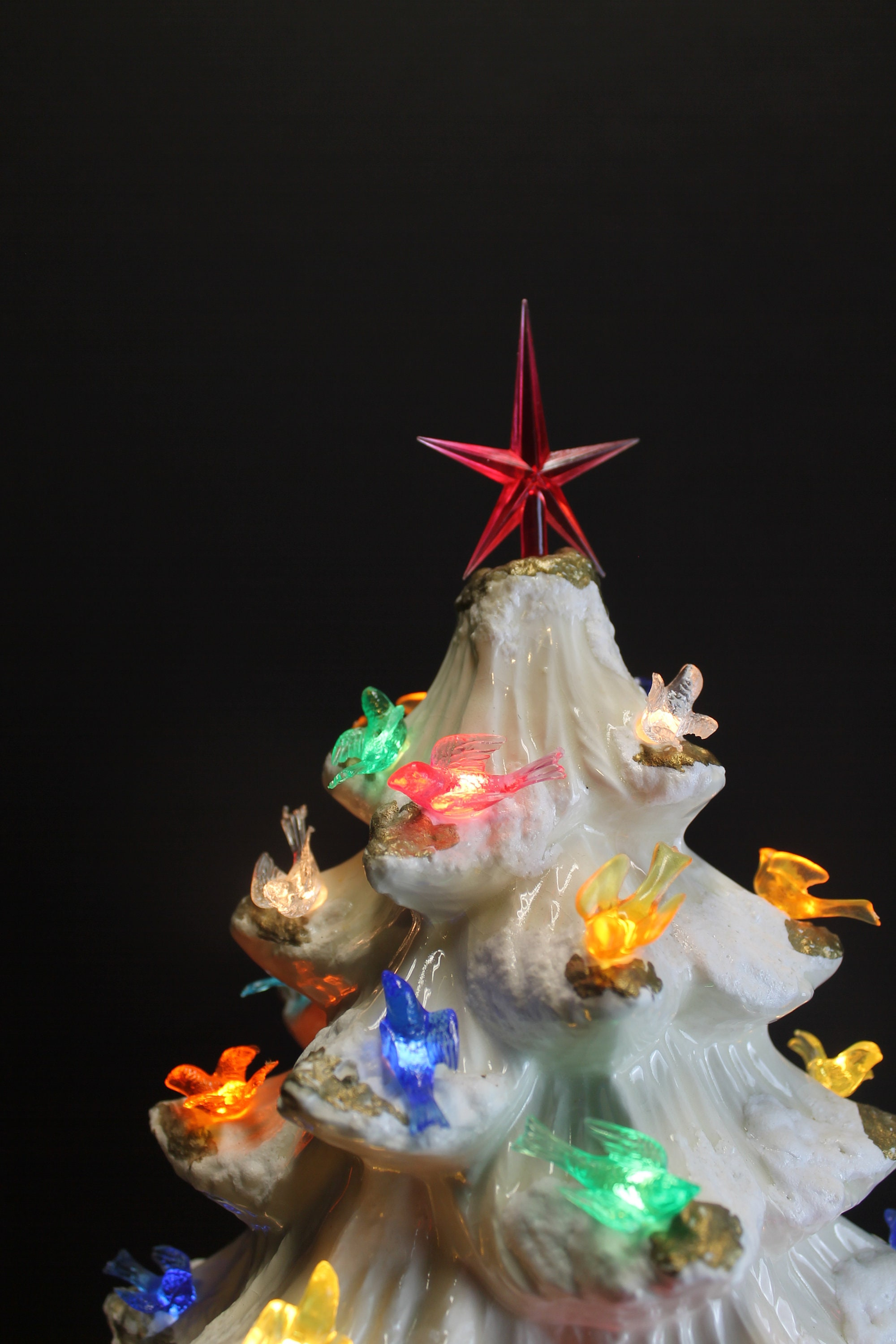Vintage White And Gold Lighted Ceramic Christmas Tree With Etsy