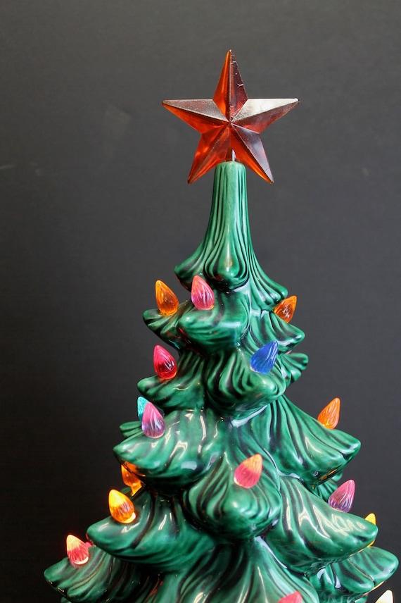 Vintage Green Lighted Atlantic Mold Ceramic Christmas Tree // | Etsy