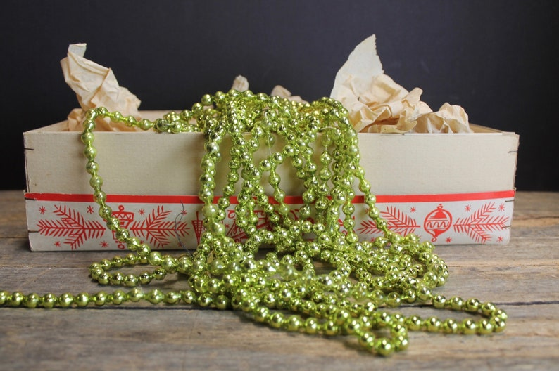 Vintage Aged Chartreuse Green Mercury Glass Ornament Beads  17.8 Feet  Garland  Supplies