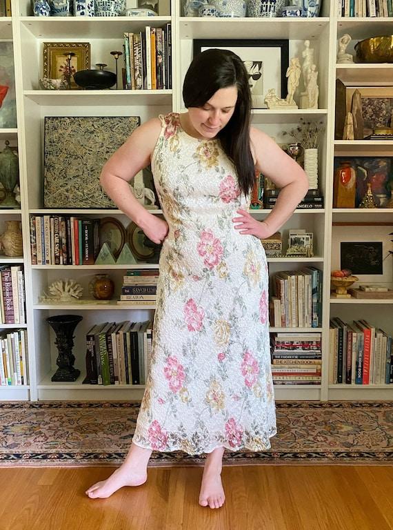 Vintage 1990s White Floral Maxi Dress - image 5