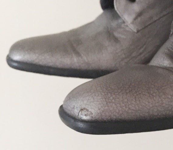 Vintage 1990s Dark Silver Ankle Boots -- 1990s Cl… - image 10