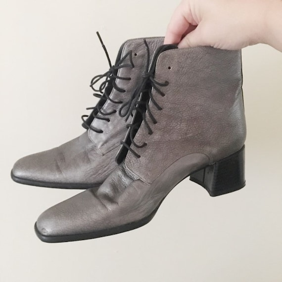 Vintage 1990s Dark Silver Ankle Boots -- 1990s Cla