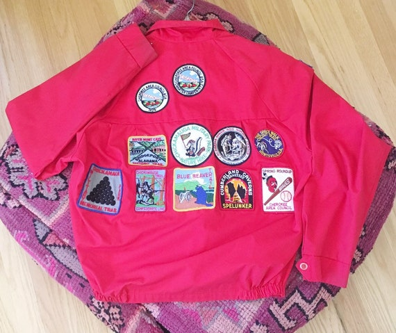 Vintage 1970s Red Boy Scout Zip Up Jacket -- Pins