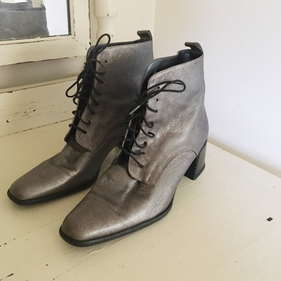 Vintage 1990s Dark Silver Ankle Boots -- 1990s Cl… - image 2