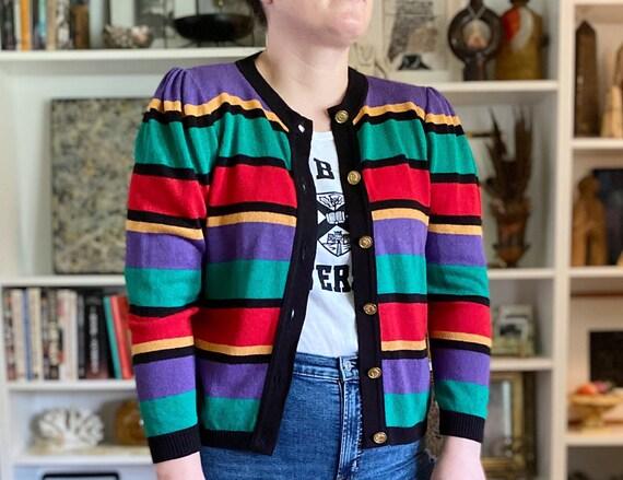 Kitsch Kitschy Vintage 1990s Nicole Miller Black Roses Cardigan Sweater