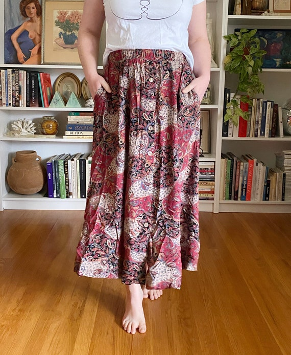 Vintage 1990s Red Paisley Maxi Skirt