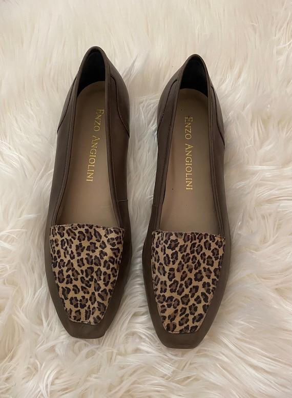 Vintage 1990s Leopard Print Slip On Shoes