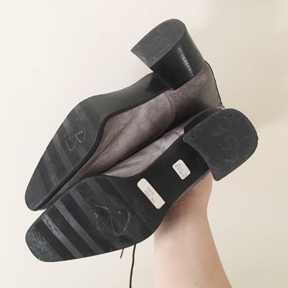 Vintage 1990s Dark Silver Ankle Boots -- 1990s Cl… - image 9