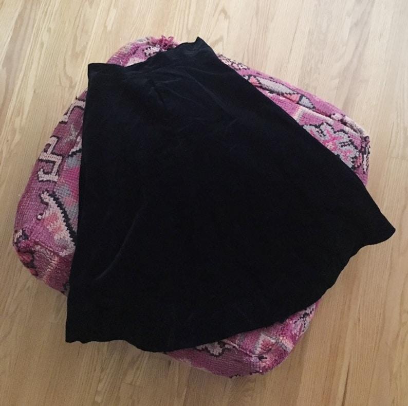 Vintage Mid Century Black Velvet Skirt Mod Retro Full Circle Skirt