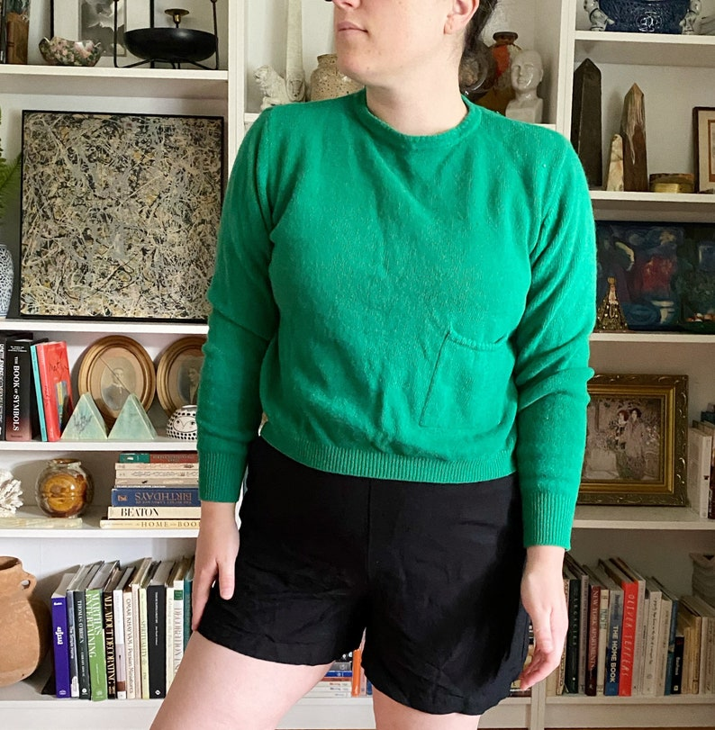Vintage 1990s United Colors of Benetton Green Wool Cropped Sweater