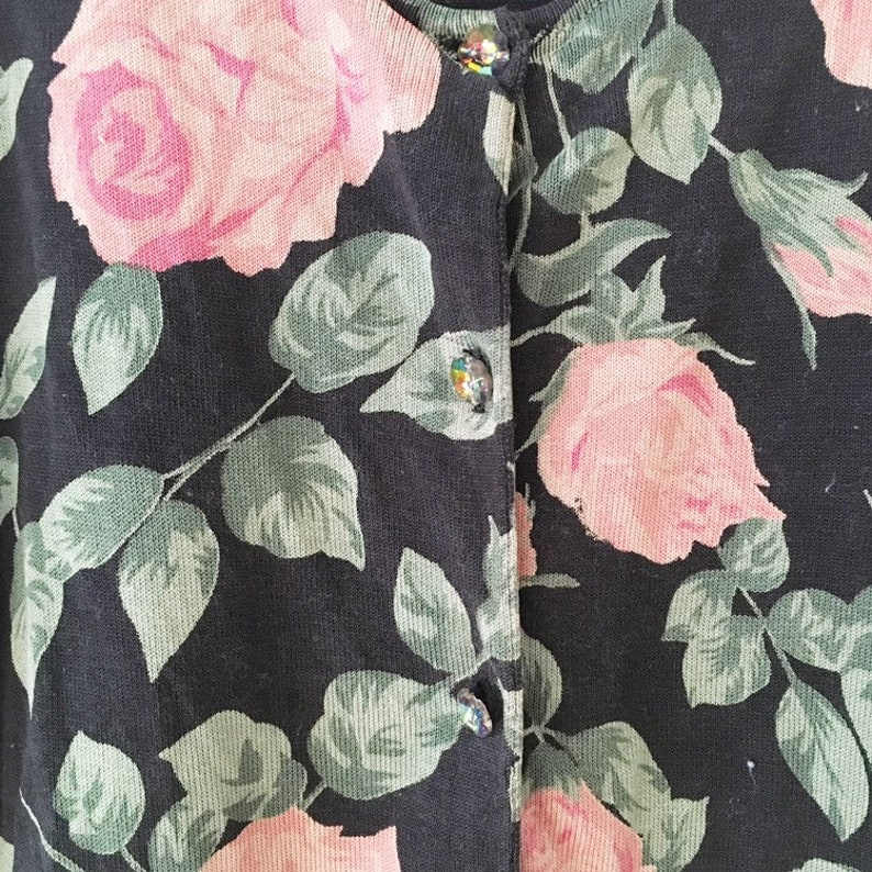 Vintage 1990s Nicole Miller Black Roses Cardigan Sweater Kitsch Kitschy