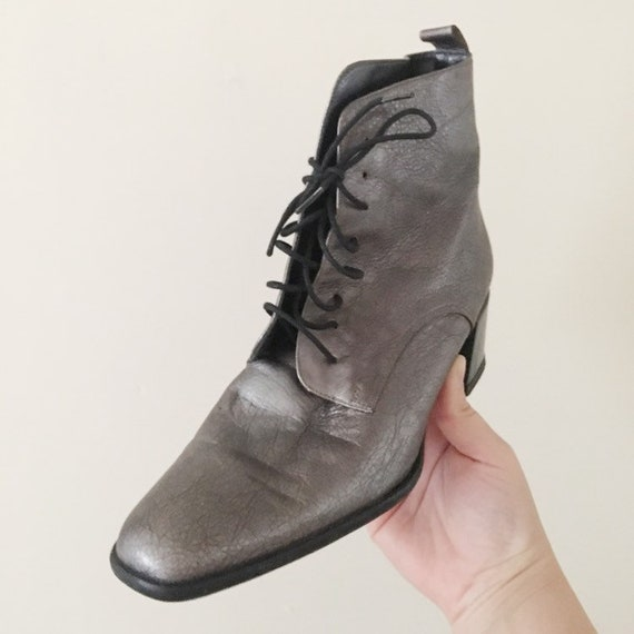 Vintage 1990s Dark Silver Ankle Boots -- 1990s Cl… - image 4