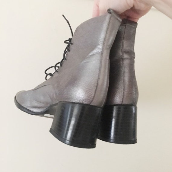 Vintage 1990s Dark Silver Ankle Boots -- 1990s Cl… - image 6