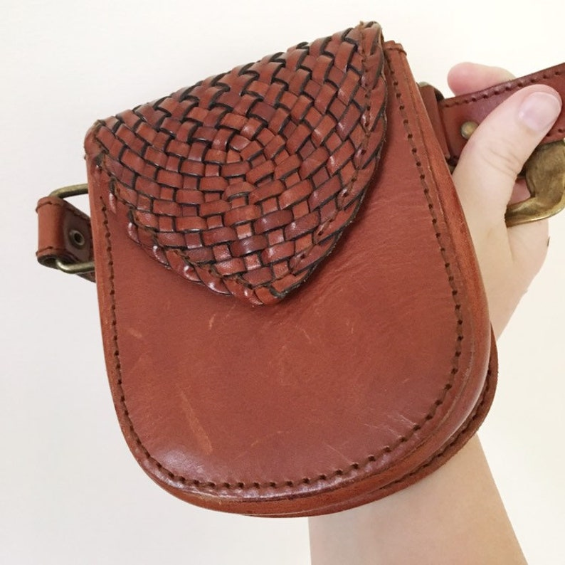 01368fa95fb Vintage Brown Leather Belted Fanny Pack -- Leather Belted Waist Bag