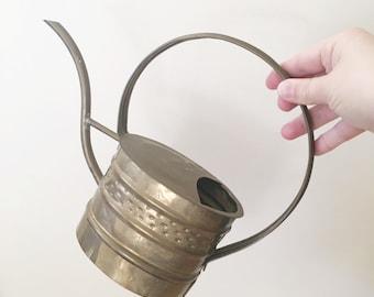 Vintage Non-working Brass Watering Can -- Garden Home Decor -- Boho Home Decor