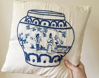 Vintage Blue and White Asian Inspired Pillow -- Blue Willow China  Pattern Pillow -- Shabby Chic Decor