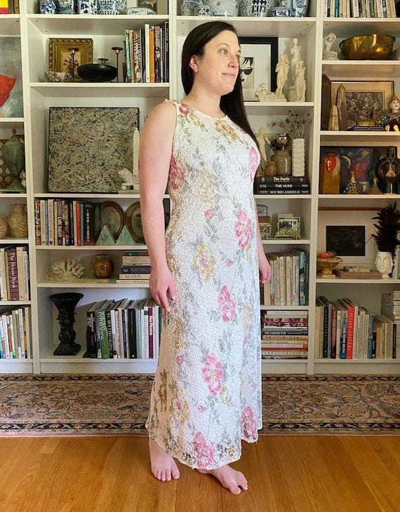 Vintage 1990s White Floral Maxi Dress - image 6