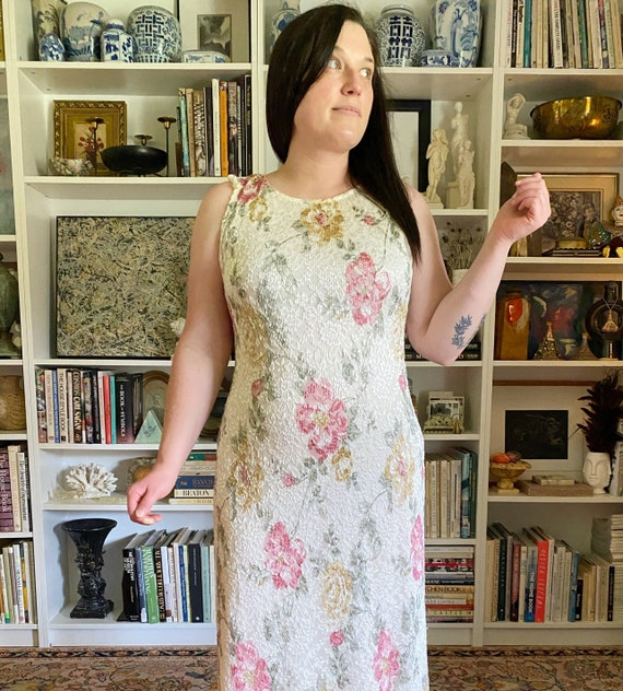 Vintage 1990s White Floral Maxi Dress - image 1